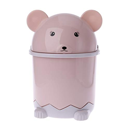 Mini Bär Abfallbehälter Desktop Müllkorb Tisch Home Mülleimer Schwingdeckel 1.5L