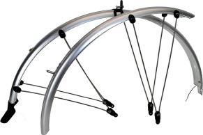 P4B | 28 Zoll Fahrrad Schutzblech Set für Vorderrad + Hinterrad | 56 mm Breite | Rahmenbohrung notwendig | Mit elektronischen Kontaktstreifen | Geeignet für Trekking- und Cityfahrräder (Silber)