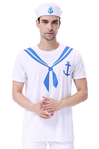 COSAVOROCK Camiseta Disfraz de Marinero con Sombrero Marinero para Hombre (XL, Blanco)