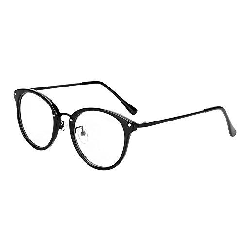 Retro Brille Student Lehrer Damen Herren Slim-Brille ohne stärke Nerdbrille Linsen Brillenfassung clear lens Dekobrillen fashion Streberbrille Transparente Lesebrille mit Brillenetui für Computer PC