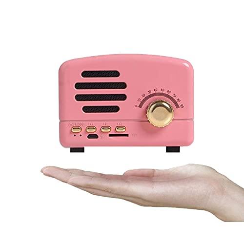 TYGH Radio Portátil Vintage, Altavoz Blueteeth Retro, Radio FM De De Madera con Radio Mini De Estilo Clásico, Blueteeth 4.2, Tarjeta AUX TF Y Reproductor De MP3