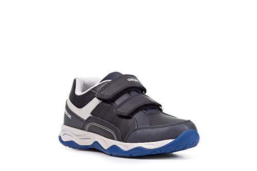 Geox Niños Zapatillas CALCO Boy, Chico Bajo,Zapato bajo,Calzado Deportivo,Zapato de Velcro,Cierre de Velcro,Removable Insole,Blau,34 EU / 1.5 UK
