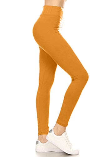 LYR128-MUSTARD Yoga Solid Leggings, One Size