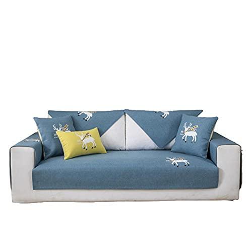 Cojín de Funda de sofá con Estampado de Ciervo auspicioso de Dibujos Animados,Funda de sofá de Varios tamaños,Protector de Muebles de Sala de Estar Acolchado Transpirable,Azul,70 * 90 cm