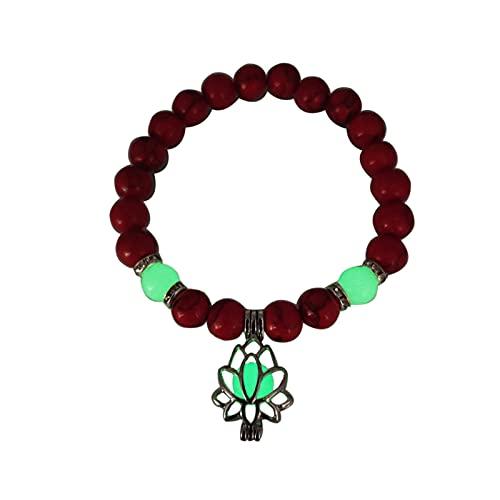 KAITUO Luminoso Brillo en la Pulsera Oscura Lotus Charm Beads Pulsera para Hombres Mujeres Natural Piedra Yoga curación Pulsera oración Budismo (Metal Color : 4C)