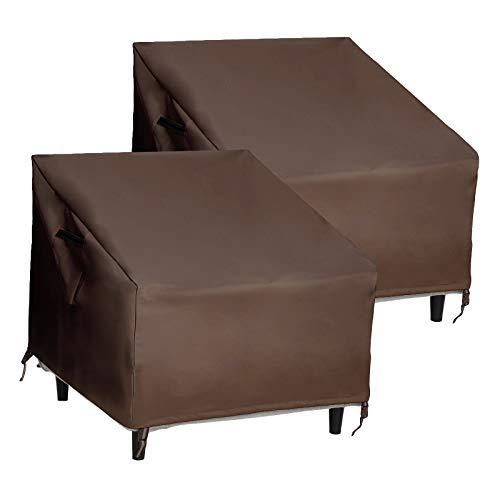 SONGMICS UGCC008R01 - Juego de 2 fundas para sillas de patio, 600D, resistente al agua y antidecoloración, color marrón