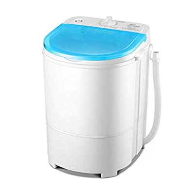 LM Mini Washing Machine, 2 in 1 Compact Portable Washer Spin Dryer with Drain Tube, Single Barrel Removable Drain Basket, for Singles, Student, Hotel, Dorm