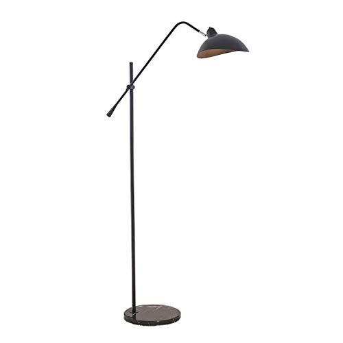 WPLDD antieke staande lamp, verstelbare lampenkap van messing, industriële vintage vloerlamp van ijzer, katoenen slaapkamer, woonkamer, dakverdieping, huis E27 (zwart, goud)