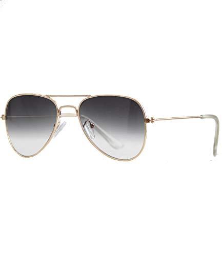 Caripe Kinder Mädchen Jungen Pilotenbrille verspiegelt Fliegerbrille Metall Sonnenbrille Retro - pil (One Size, so17 gold smoke Verlauf)