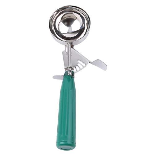 Liangwan Bola de helado de acero inoxidable para helado, cuchara de helado de cocina resistente con gatillo, verde, 6,3 cm