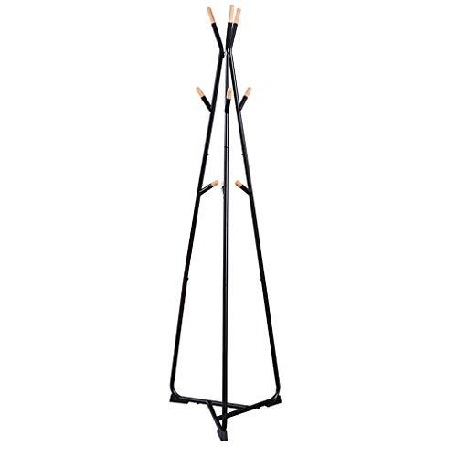 QIFFIY Perchero de metal con 9 ganchos, para chaqueta, bolso, bufanda, para entrada, percha de madera, color negro