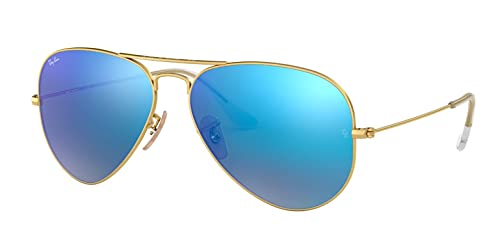 Ray-Ban RB3025 Large Aviator Sunglasses Matte Gold w/Blue Mirror (112/17) 3025 11217 62mm Authentic