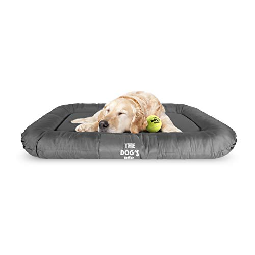 The Dog's Bed, Premium Waterproof Dog Bed, M to XXL Durable Quality Grey Oxford Fabric, YKK Zippers, Washable Reversible Cover, Dog Beds for Home Car Crate & Outside, Puppy & All Pet Comfort Beds