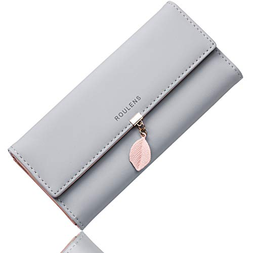 Roulens PU Leather Wallet for Women Leaf Pendant Zipper Coin Long Purse with Multiple Card...