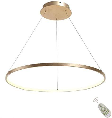 Lámpara Colgante LED, Luz de Techo Acrílico diseño moderno lámpara de mesa de comedor con el Control Remoto regulable 3000-6500K, Lámpara de techo para Salón oficina - Dorado Redondo 60cm