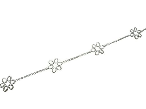 10 Inch Silver Five Daisy Sterling Silver Anklet/Ankle Bracelet/Ankle Chain - 925 Sterling Silver - Adjustable 9' to 10' Inch / 23 to 25 cm - Anklets for Women