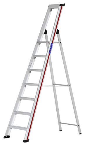 HYMER 602607 Stufenstehleiter mit Plattform SC60, einseitig begehbar, 7 Stufen