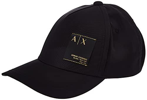 Armani Exchange Mens Logo Patch Project Baseball Cap, Nero-Black, One Size