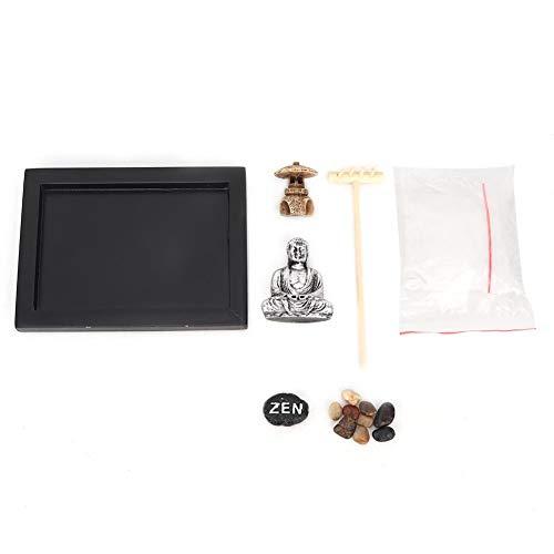 Zen Garden Descanso Meditación-Clásico Único Zen Sandbox Meditación Artístico Paisaje seco Decoración de oficina Artesanía de madera
