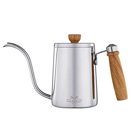 MERMOO YILAN コーヒー ドリップ ポット コーヒー ケトル 木柄 蓋付き 人気 ドリップケトル 600ML 直火 コーヒー ポット ステンレス キャンプ やかん (シルバー)