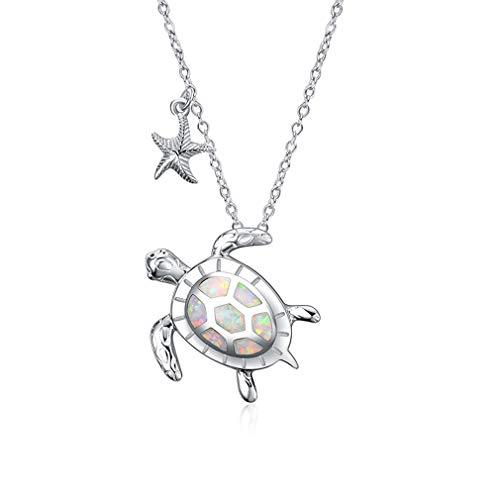 MKHDD S925 Sterling zilveren schildpad zeesterren hanger dames ketting met sieraden schoonmaken polijsten doek en geschenkdoos