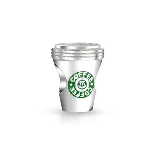 Bling Jewelry Kaffee-Liebhaber-Tasse Latte Reise Becher Charm Perle Für Frauen Für Teen 925 Sterling Silber Passt Europäische Charm Armband