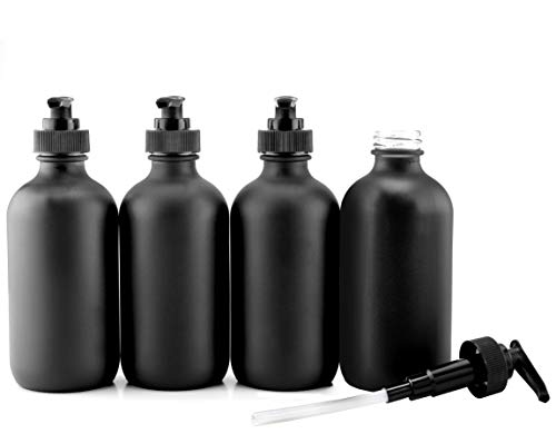 Cornucopia Brands Black Coated 8-Ounce Glass Pump Bottles (4-Pack), Great for Lotions, Liquid Soap, Aromatherapy and More