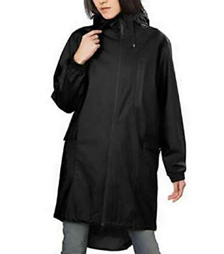 Kristen Blake Womens Black Raincoat Jacket Hooded Topper Black, XS