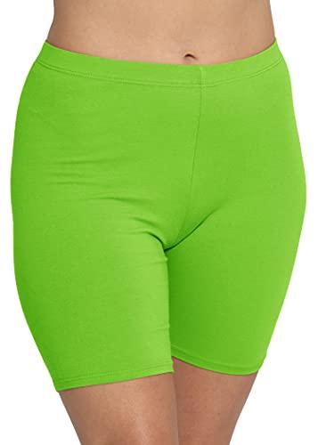 Stretch is Comfort Women's Cotton Stretch Workout Biker Shorts Medium Lime Green