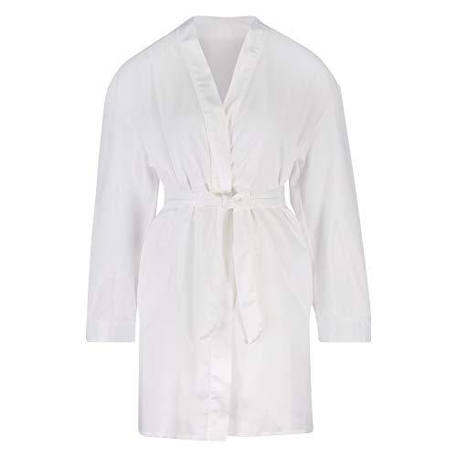 HUNKEMÖLLER Satin-Kimono Bridal Weiß XL/XXL