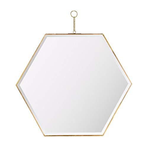 Qing MEI Miroir Hexagonal Nordique en Laiton Doré, Miroir De Vanité (Taille: 22 X44CM)