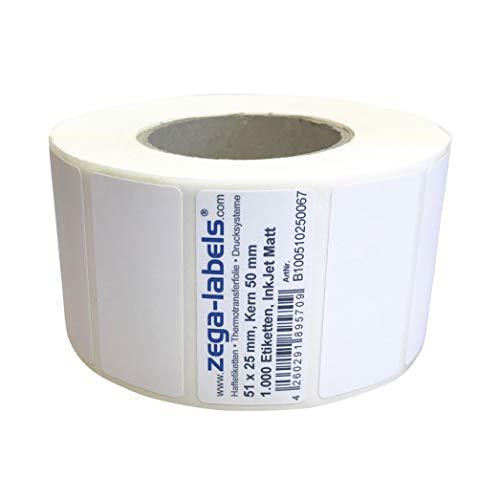 Inkjet Etiketten auf Rolle - 51 x 25 mm - 1.000 Stück je Rolle - Kern: 50 mm - Papier weiss matt - aussen gewickelt - permanent haftend - Druckverfahren: Ink Jet (Rollen Tintenstrahl Drucker)