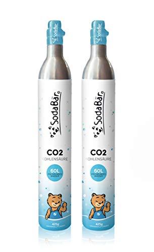 SodaBär© Der kompatible CO2-Zylinder für SodaStream Geräte   2 x 425g (60 l)   Premiumfüllung mit Kohlensäure von Linde Deutschland