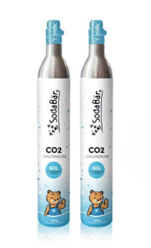 SodaBär© Der kompatible CO2-Zylinder für SodaStream Geräte | 2 x 425g (60 l) | Premiumfüllung mit Kohlensäure von Linde Deutschland