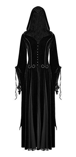 Punk Rave Dark Dreams Gothic Steampunk Neo Victorian Samt Mantel Kleid Kapuze Willow M L XL XXL, Größe:XL/XXL