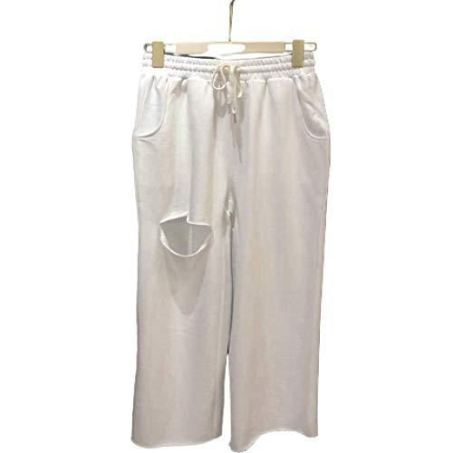 Primavera y Verano Calle Vieja Pantalones Holgados de Cintura elástica Pantalones Casuales Pantalones Deportivos de Pierna Ancha para Mujer