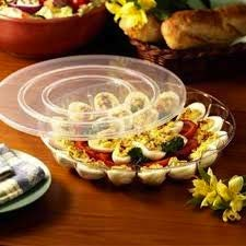 Juego de 2 bandejas de plástico duro para huevos con tapa segura | Bandeja para huevos | Cada bandeja tiene capacidad para 15 huevos | 30 cm