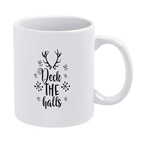 Taza de café negra de 330 ml con cita de cerámica blanca de Deck The Halls