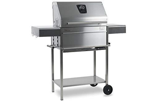 Schickling Premio II Barbecue - Holzkohlegrill - Edelstahlgrill - Grillwagen - Rechteckig - 100% Edelstahl - Holzkohle - Mit Deckel - Made in Germany - Direkt vom Hersteller