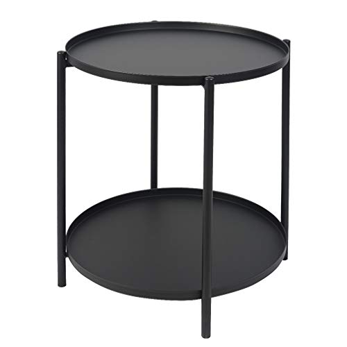 H JINHUI Round Side Coffee Tray Table, 2 Layer Metal End Table, Removable Tray Outdoor & Indoor Drink Snack Coffee Table Telephone Double Tier Table (Black)