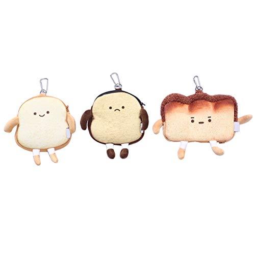 N/A/ HipyYAN Toast Brot Plüsch Reißverschluss Münzbörse Kartenhalter Kopfhörer Lippenstift Tasche für Mädchen