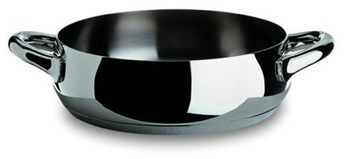 "Alessi, ""MAMI"", Low casserole with two handles in 18/10 stainless steel mirror polished,1 qt 26 ½ oz"