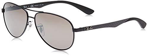 Ray-Ban Carbon Fibre Gafas de sol, Aviador, Polarizadas, 58, Black (frame: black (glossy), lenses: gray polarized mirror 002 / K7)