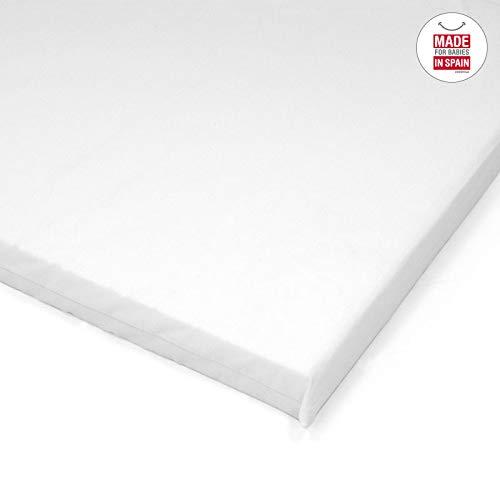 Cambrass Liso E - Colchoneta para minicuna, 46.5x81x5 cm, color blanco