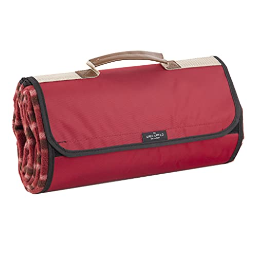 Greenfield Collection Luxury Mulberry Red Plaid Moisture Resistant Picnic Blanket