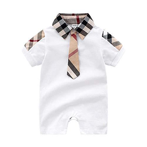 Mameluco de caballero con corbata para recién nacido, traje de boda de una pieza, color blanco