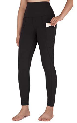 Free Leaper Pantacollant da Ginnastica Neri Leggings da Yoga Tights a Vita Alta per Le Donne con 2 Tasche Laterali (Nero, S)
