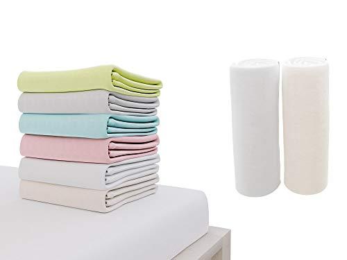 Dreamzie - 2er SetSpannbettlaken 70x140 cm - 100% Jersey Baumwolle Zertifiziert Oeko-TEX® - Weiß und Beige - Für Babybett Matratzen 70 x 140 x 12 cm
