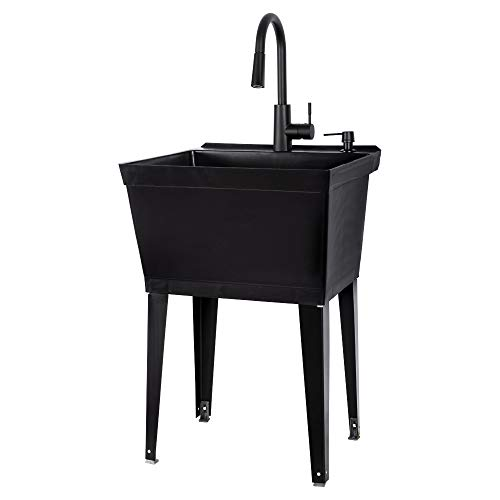 VETTA White Utility Sink Laundry Tub With High Arc Black Kitchen Faucet By...