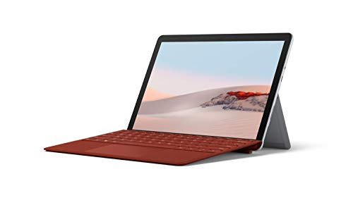 Microsoft Surface GO 2 10 Inch 2-in-1 Laptop and Tablet PC – Silver (Intel Pentium Gold Processor 4425Y, 8GB RAM, 128GB SSD, Windows 10, 2020 Model), with Surface Go 2 Type Cover – Poppy Red